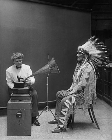 385px-Frances_Densmore_recording_Mountain_Chief2